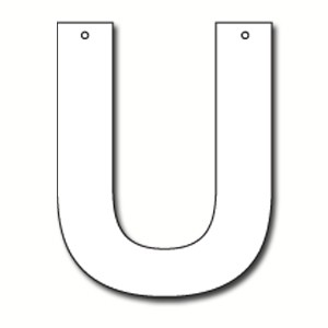 Cut out letter u cardboard ea party supplies for Large cardboard cut out numbers